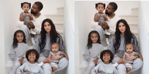 Kim Kardashian shares beautiful family Christmas card that features Kanye West and their four children (photo)